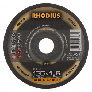Boite de 10 disques à tronçonner inox et acier Ø 125 mm  Rhodius XT70
