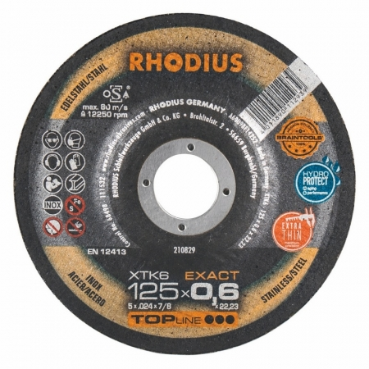 Disque à tronçonner extra fin inox et acier Ø 125 mm  Rhodius XTK6