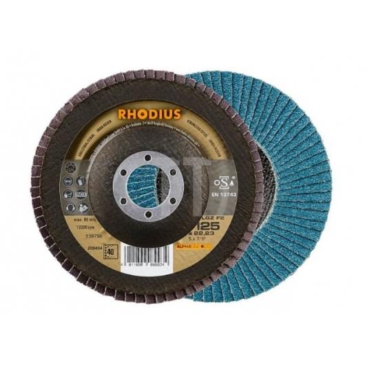 Disque à lamelles plat pour  l'inox  Ø 125 mm  Rhodius LGZ F2